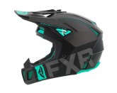 FXR Racing Clutch Evo Helmet Black Charcoal Mint